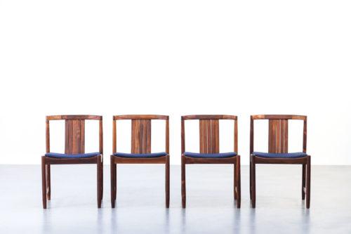 4 chaises danoise en palissandre de Rio wikkelso