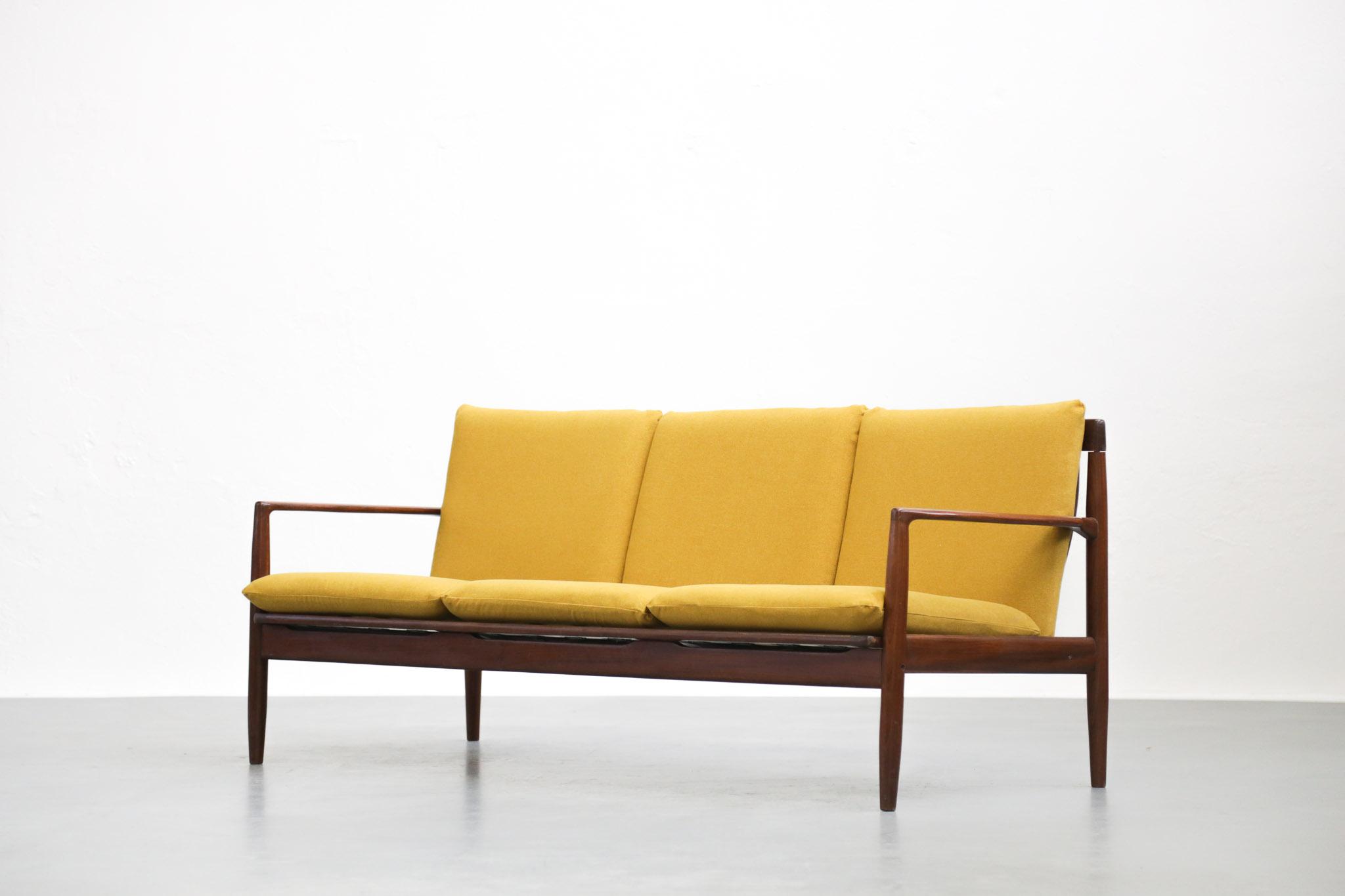 Banquette Scandinave Sofa Style Grete Jalk Teck Jaune