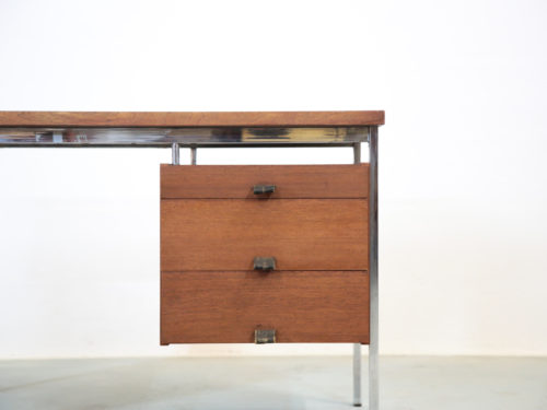 Bureau vintage teck années 60 chrome guariche desk00012