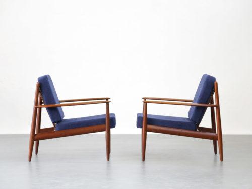Paire de fauteuil danoise Grete Jalk scandinave teck chauffeuse7