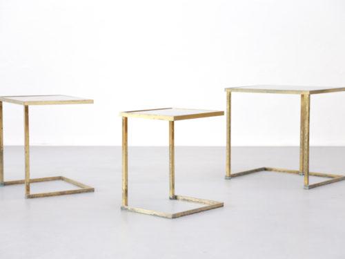 Tables gigognes laiton design vintage années 5012