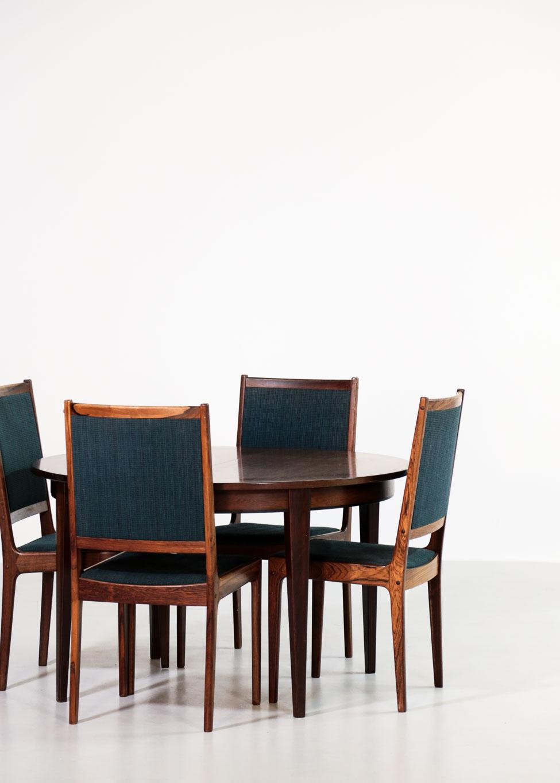 Table manger scandinave en palissandre omann model 55 - Table en palissandre massif ...