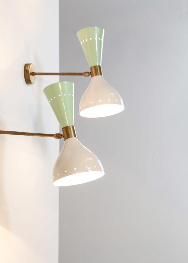 paire d'appliques diabolo italienne vintage stilnovo gino sarfatti beige verte5