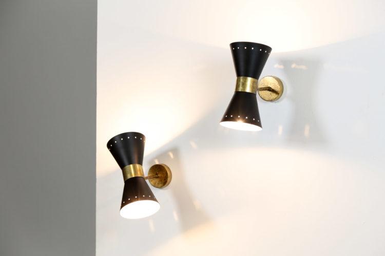 paire d'appliques diabolo italienne vintage stilnovo gino sarfatti noir4