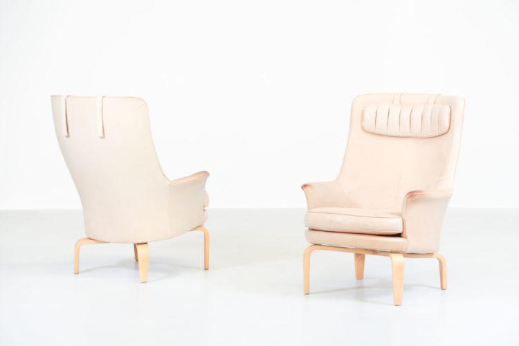 paire de fauteuil arne norell cuir beige suedois6