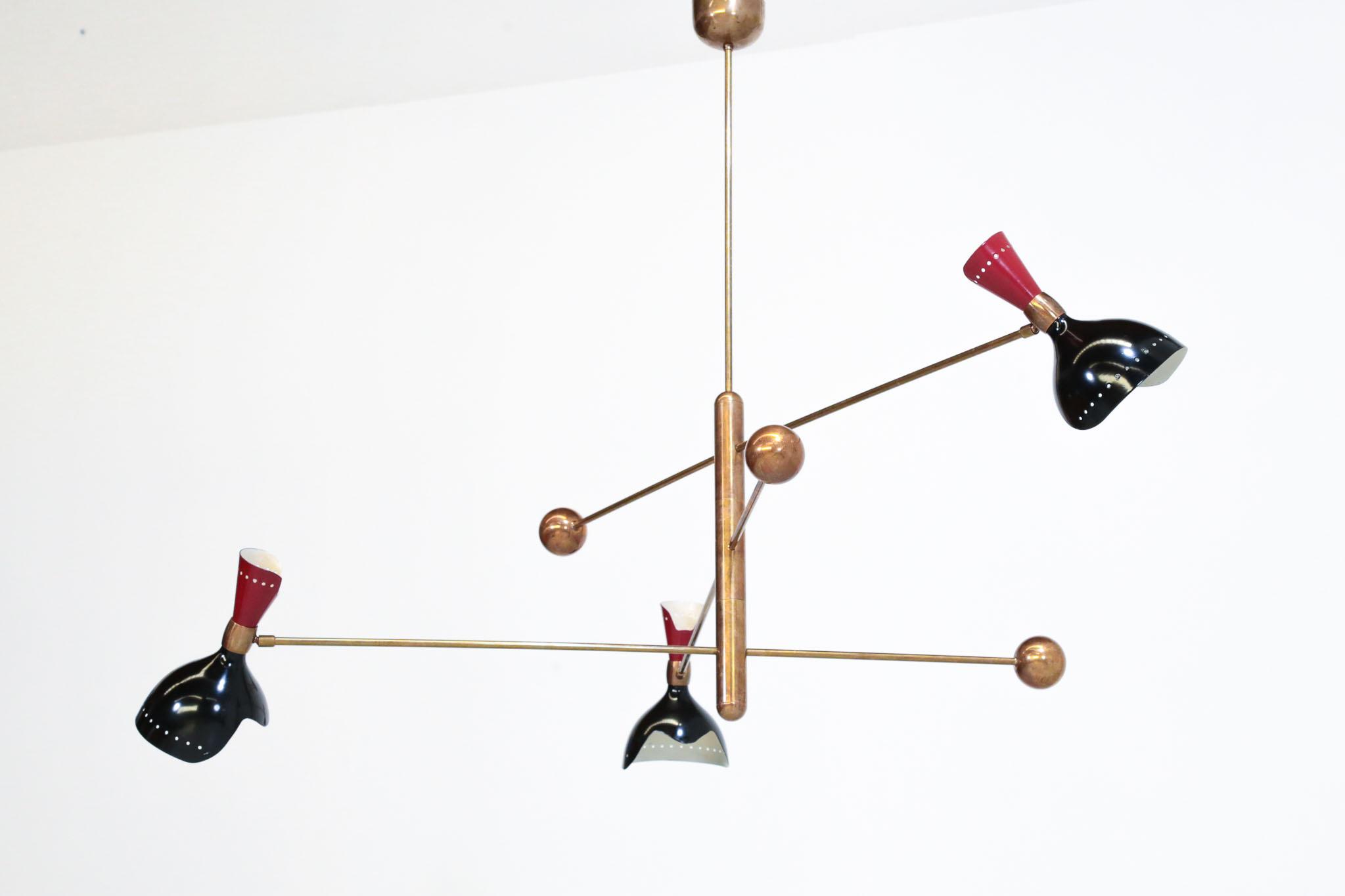 lustre italien stilnovo ann es 50 balancier rouge et noir. Black Bedroom Furniture Sets. Home Design Ideas