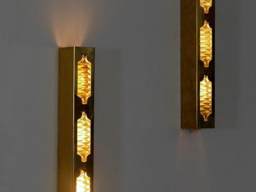 Suite de 3 appliques en verre années 50 style fontana arte