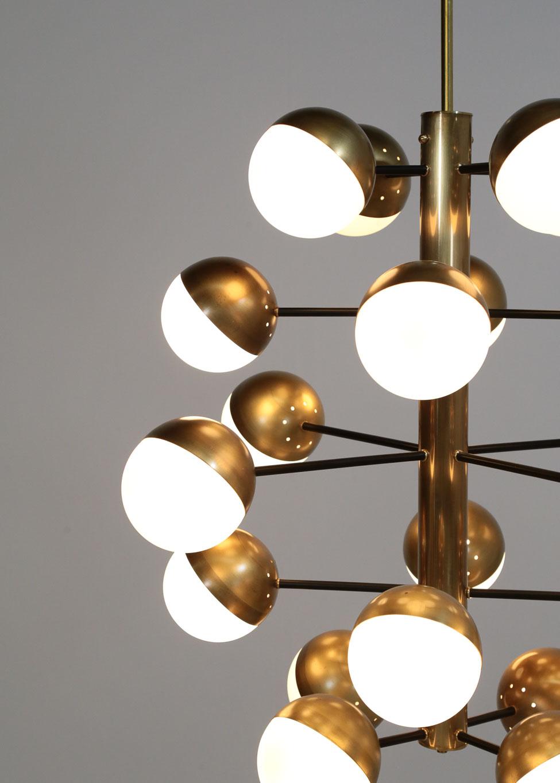 grand lustre moderne 20 boules style stilnovo danke galerie. Black Bedroom Furniture Sets. Home Design Ideas