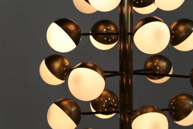 Grand lustre 20 boules stilnovo gino sarfatti vintage 25