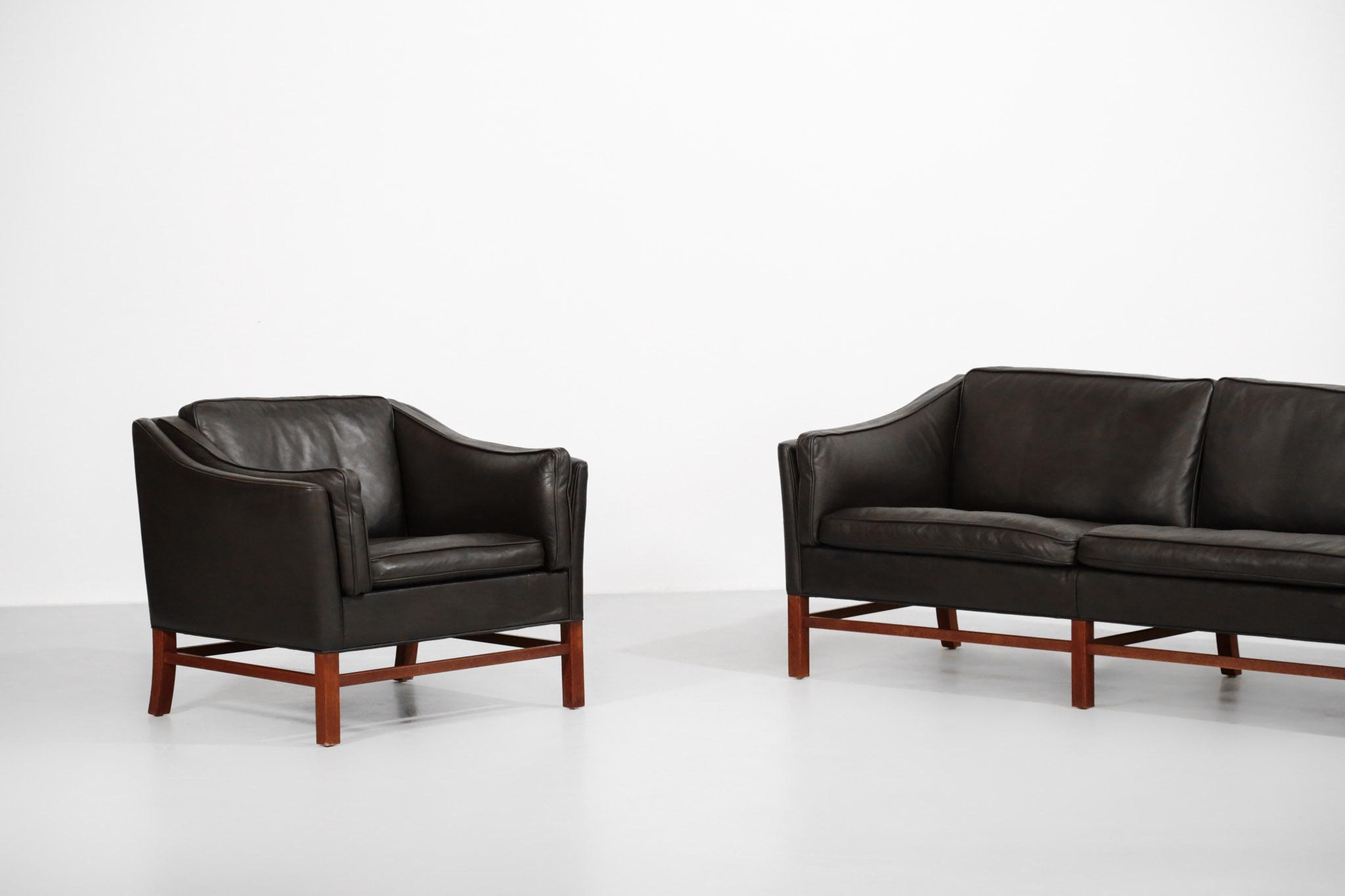 Salon Danois Fauteuil Et Canap 233 Sofa Scandinave Cuir
