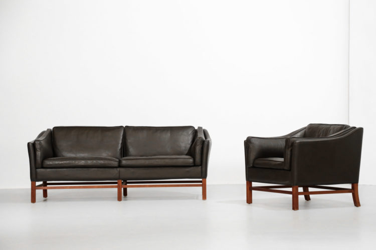 Salon danois fauteuil et canapé sofa scandinave cuir 33