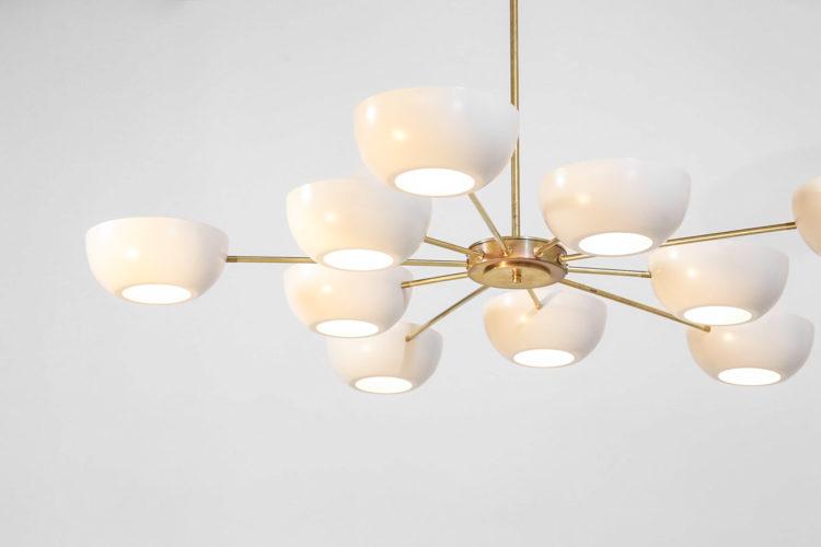 Grand lustre italien vintage stilnovo design arredoluce 17
