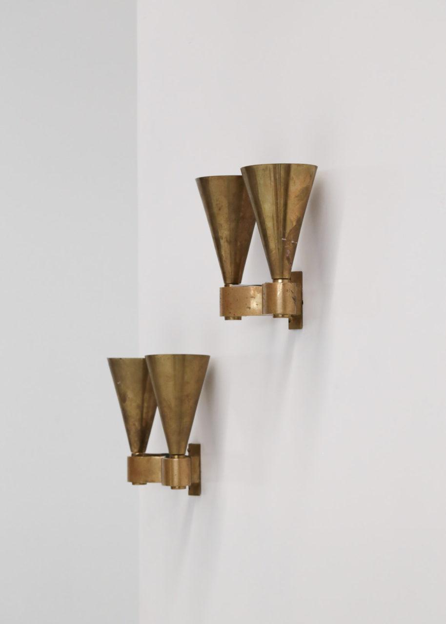 paire d'appliques moderniste en bronze jacques Quinet perzel art deco