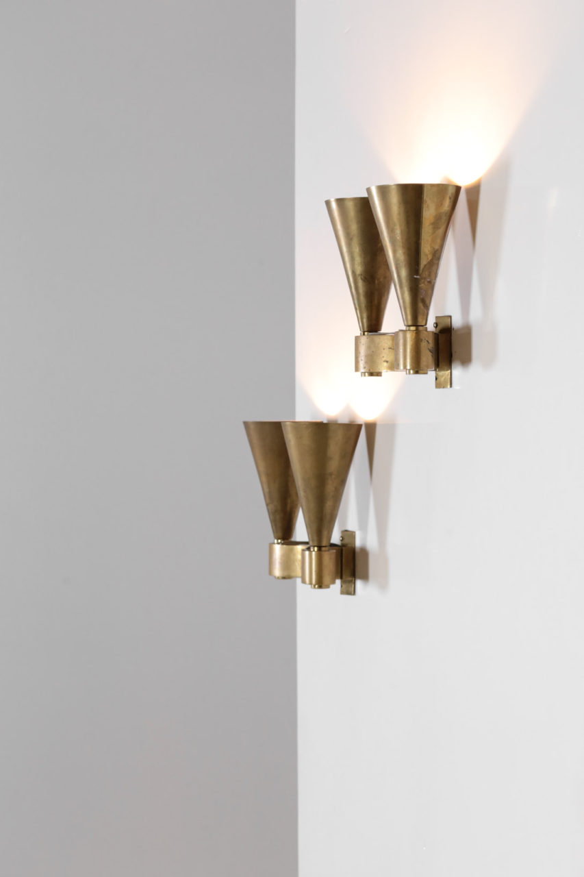 paire d'appliques moderniste en bronze jacques Quinet perzel art deco14