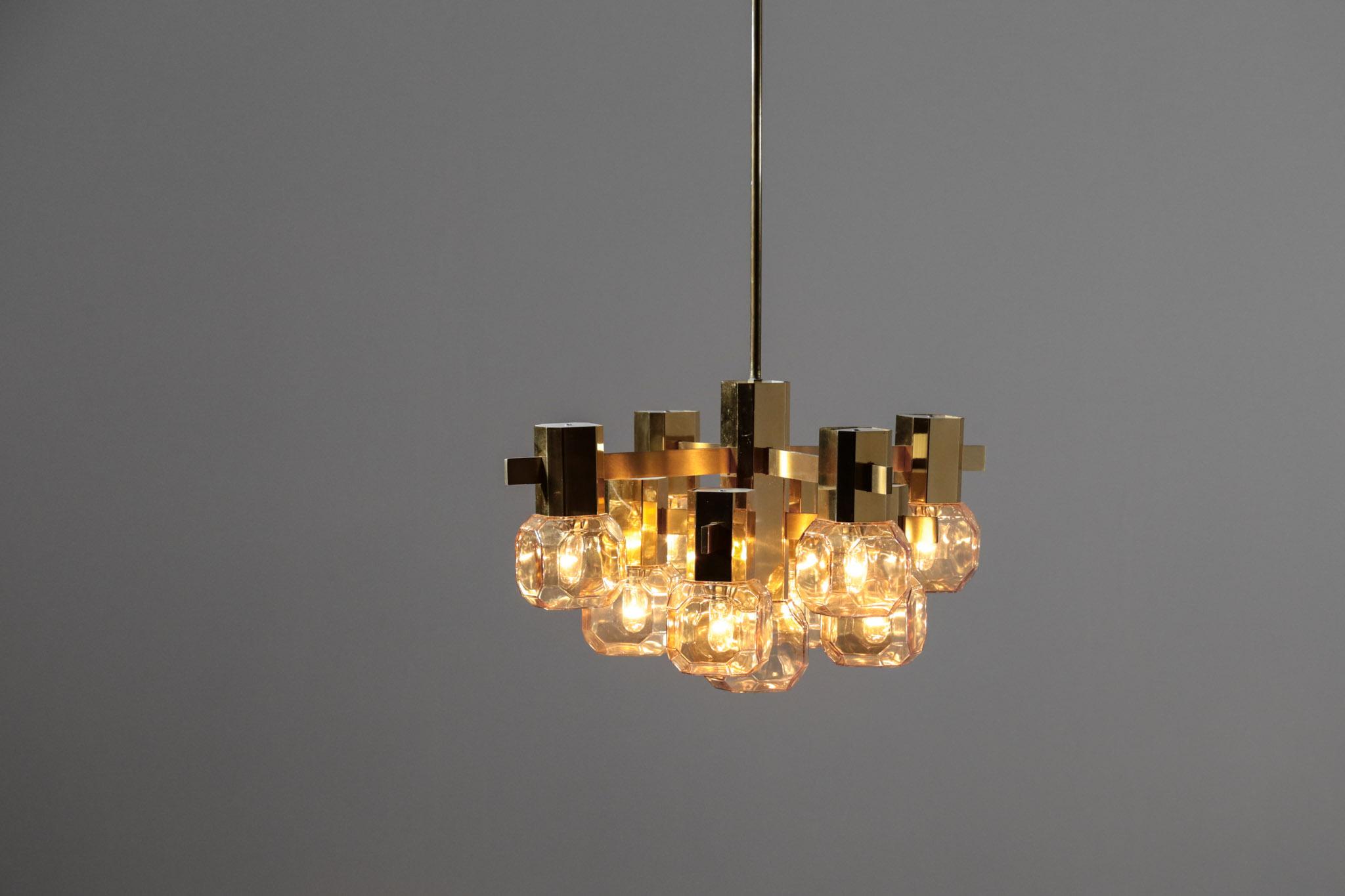 Lustre Gaetano Scolari Italien Annees 60 70 Design Danke Galerie
