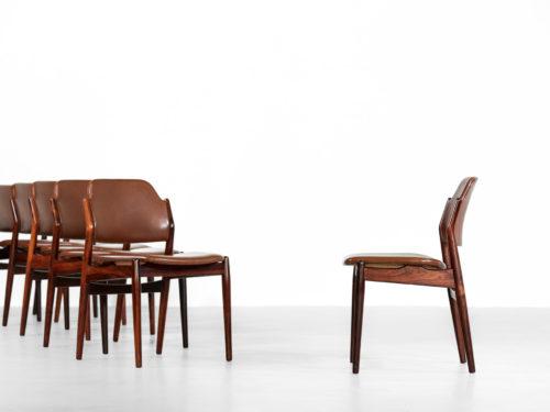 Suite de 6 chaises danoises arne vodder scandinave palissandre 62 26