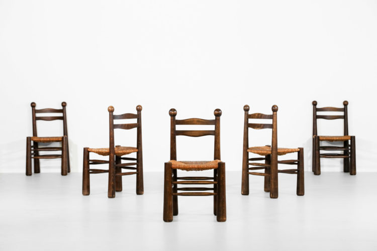 Suite de 6 chaises style charles dudouyt vintage charlotte perriand 26