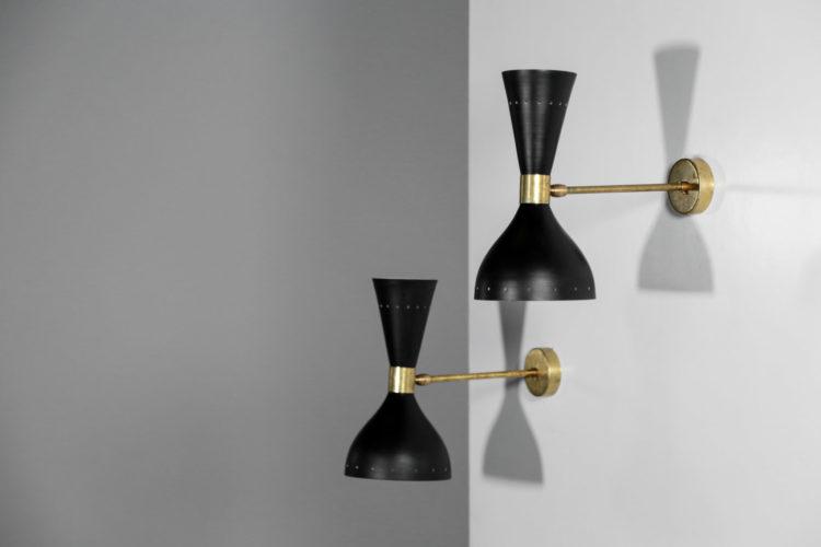 Paire d'applique style stilnovo vintage design italien 24