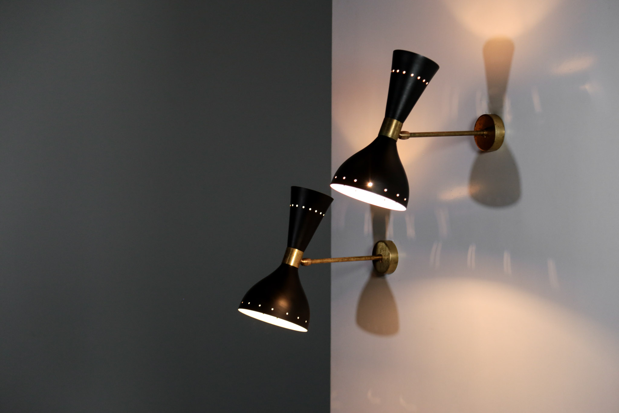 Pair of italian modern diabolo sconces stilnovo style wall light
