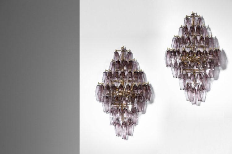 paire Appliques italiennes polyedre verre de murano amethyst29