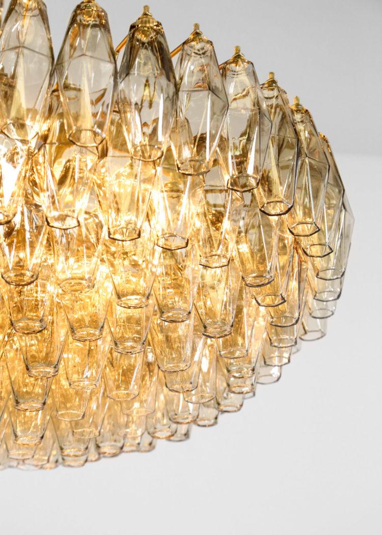 Lustre polyedre italien moderne verre fumé murano