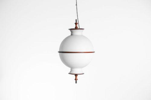 Suspension danoise ronde en opaline et teck années 6022