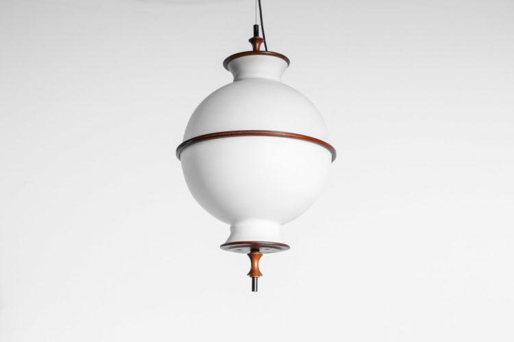 Suspension danoise ronde en opaline et teck années 6026
