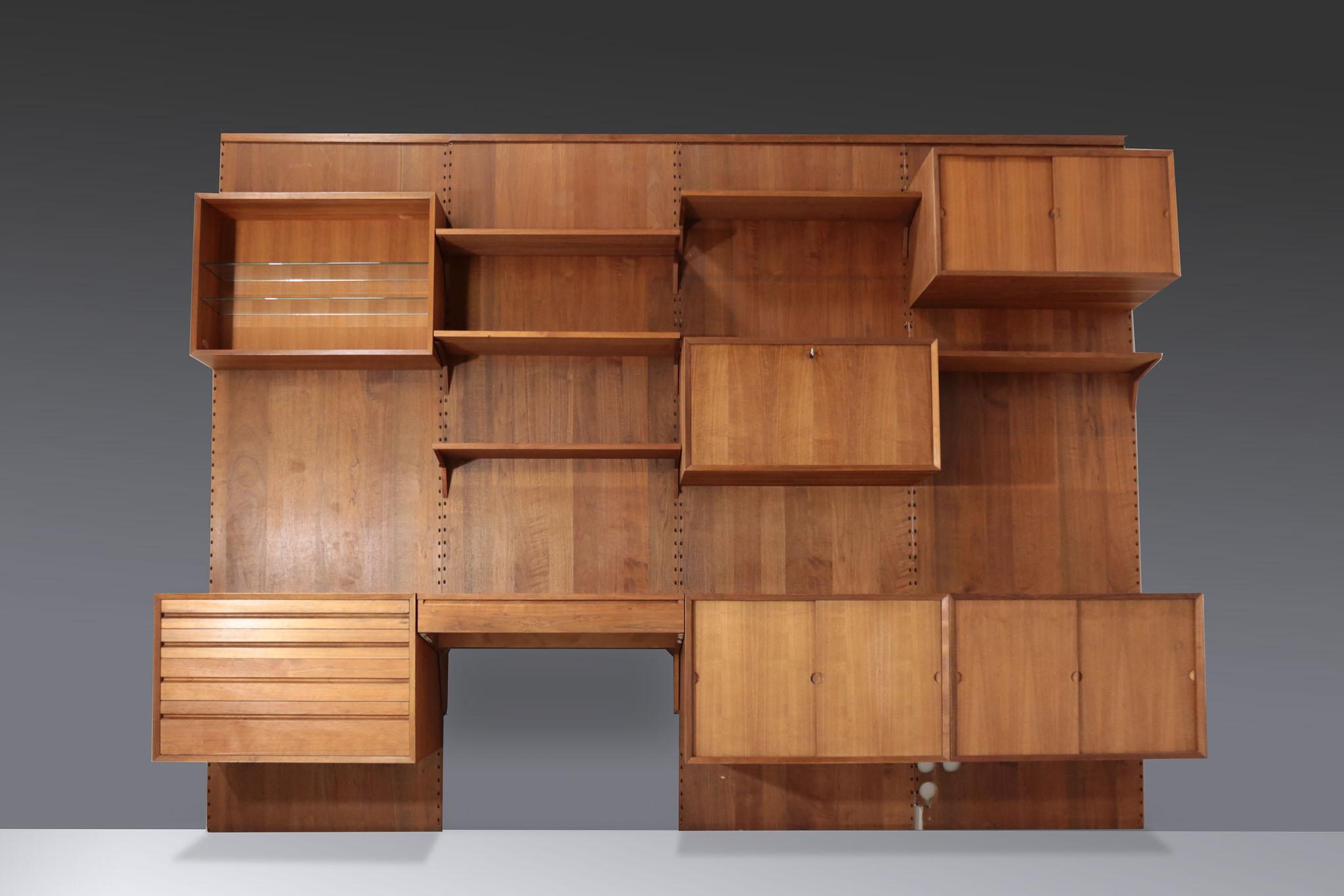 bibliotheque murale danoise poul cadovius noyer vintage scandinave danke galerie. Black Bedroom Furniture Sets. Home Design Ideas
