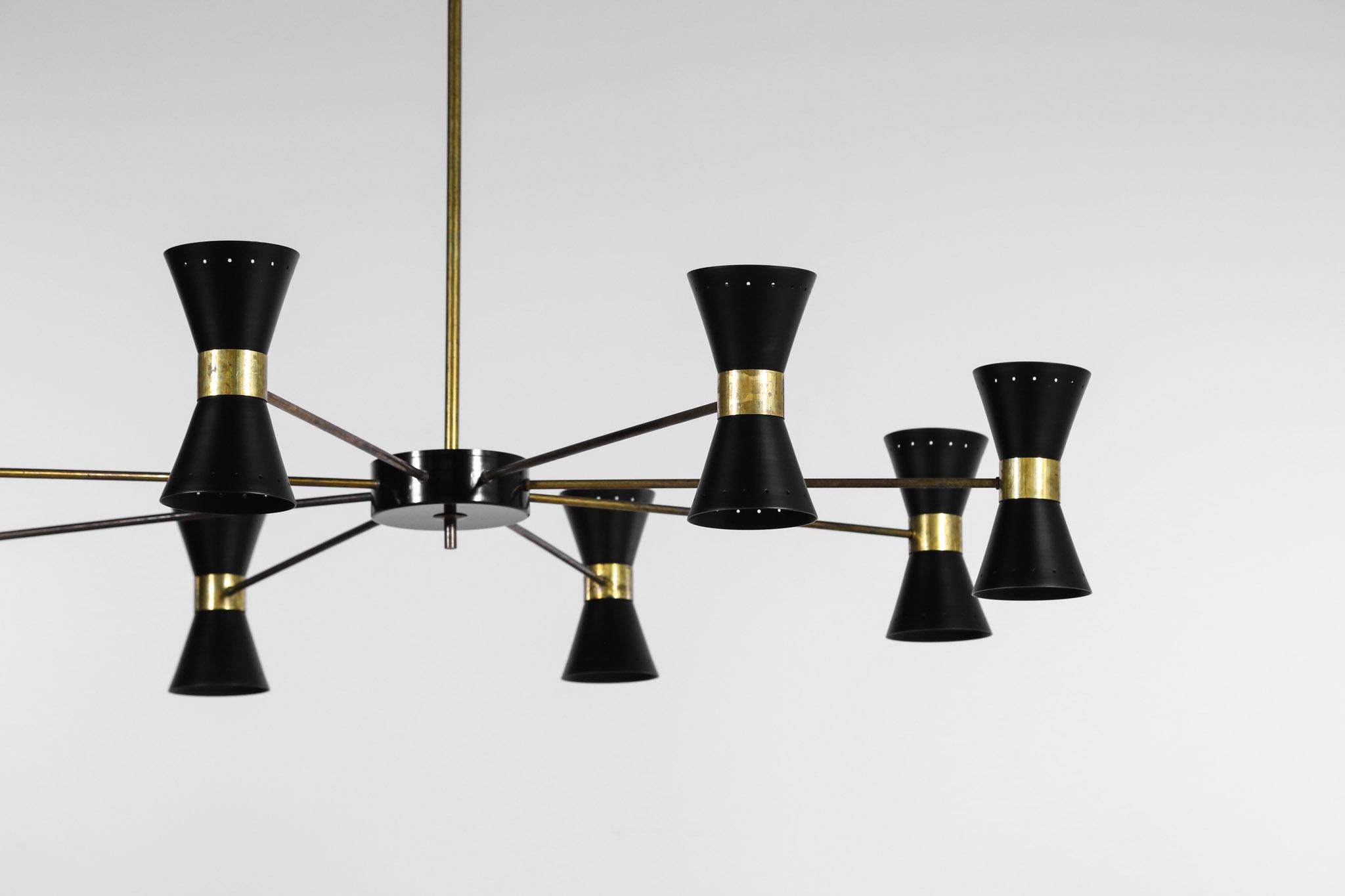 grand lustre italien moderne diabolo noir 8 branches danke galerie. Black Bedroom Furniture Sets. Home Design Ideas
