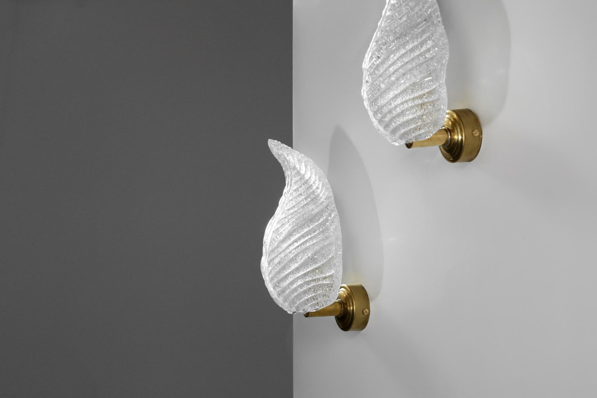 Modern italian wall light murano glass barovier et toso style
