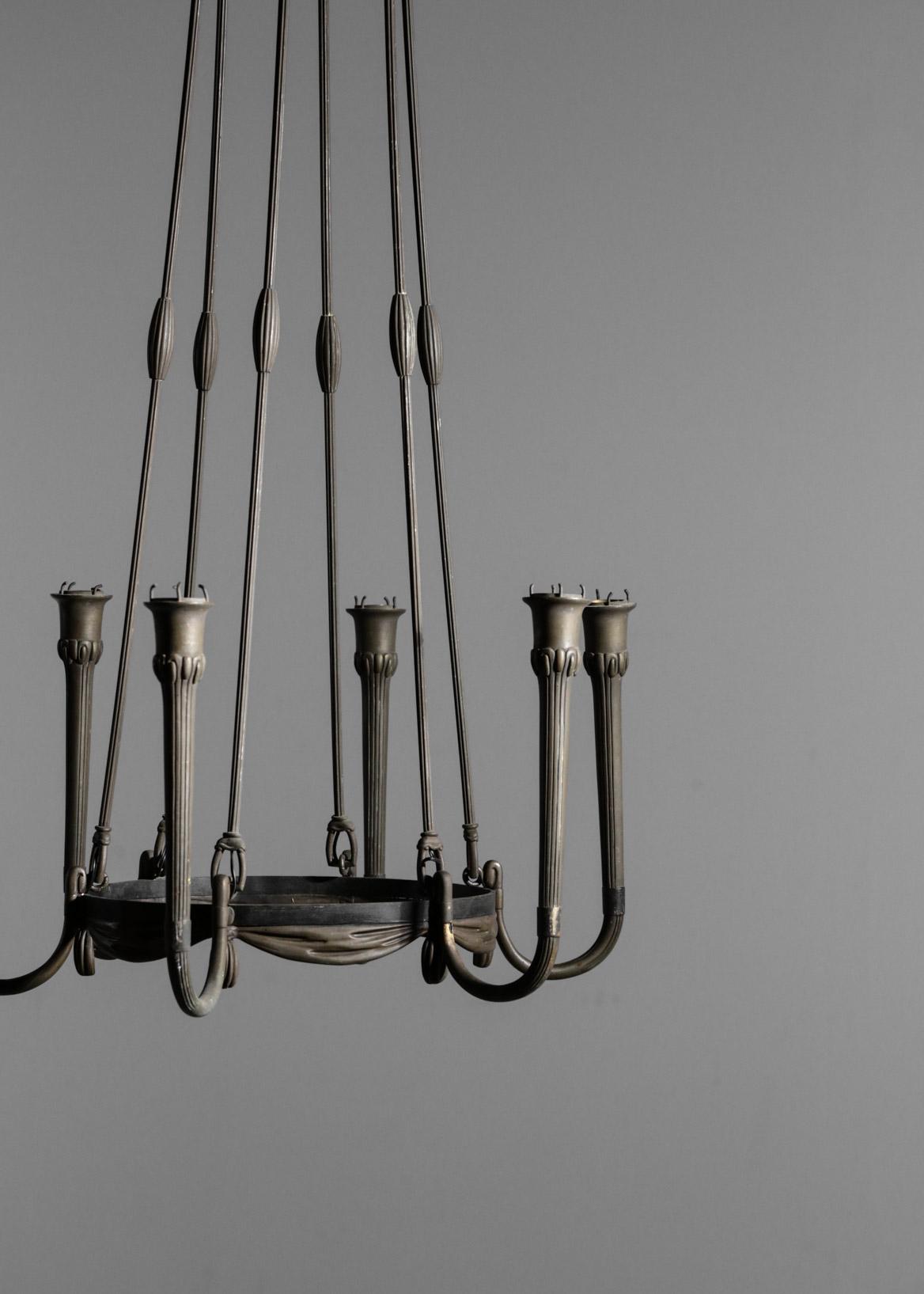 Modernist Chandelier In Bronze Art Deco Danke Galerie