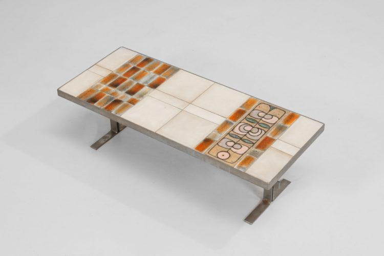Table basse fancaise en ceramique capron vintage 22