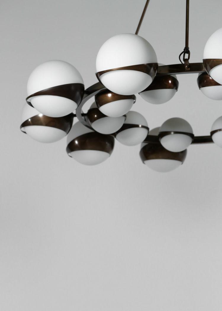 grand lustre noir stilnovo 20 opaline rond vintage design 41