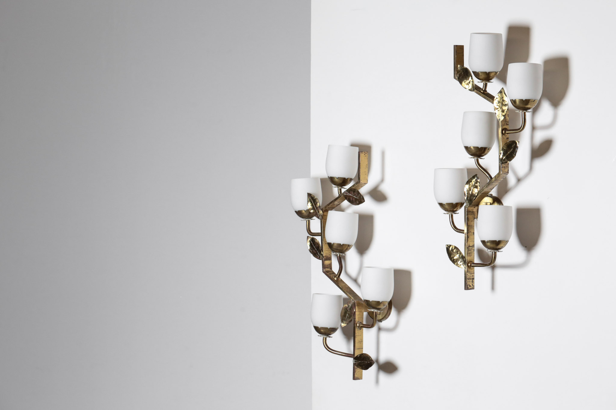Large pair of italian wall lights in brass 1950s u2013 danke galerie