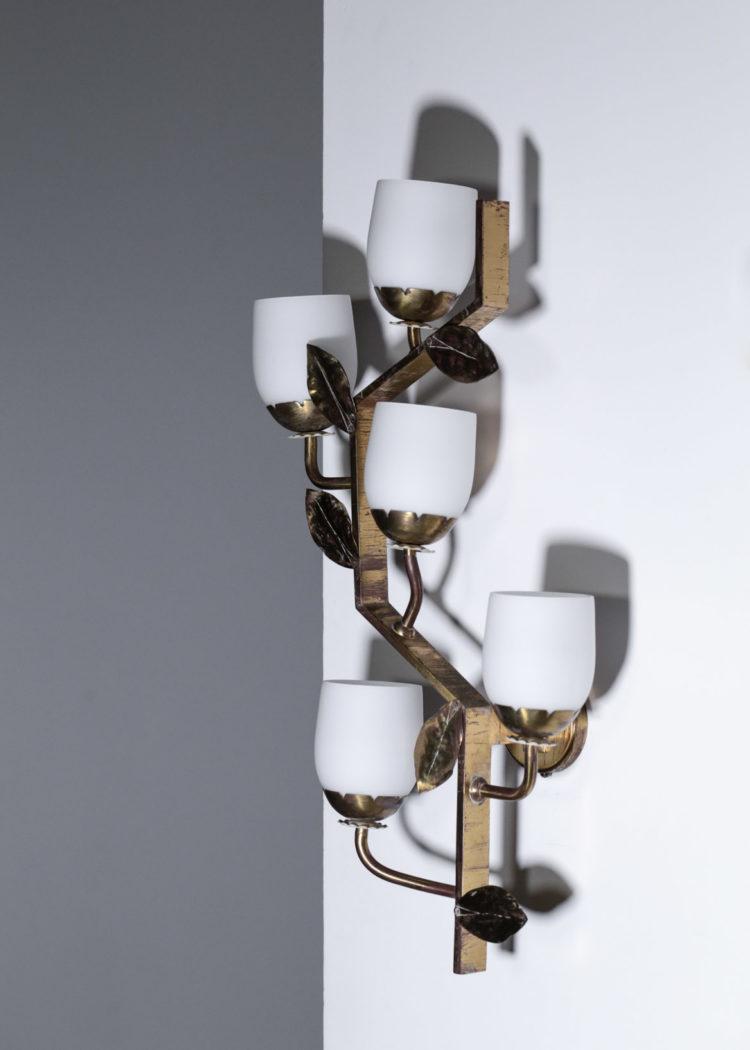 paire d'appliques italienne années 50 laiton feuille branche22
