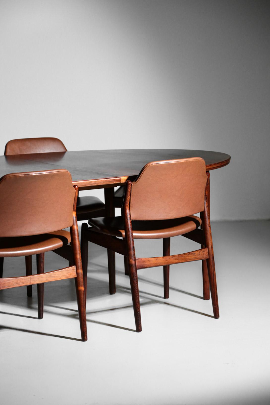 set grande table a manger et 6 chaises arne vodder 212 danois palissandre scandinave danke galerie. Black Bedroom Furniture Sets. Home Design Ideas
