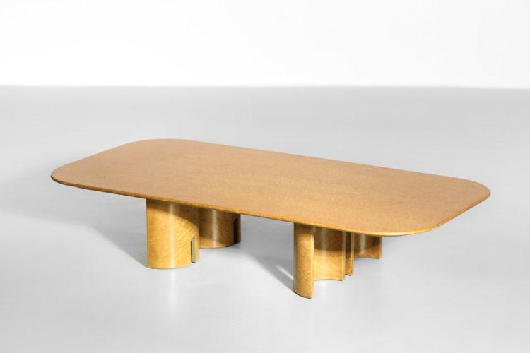 Table basse par Giovanni Offredi pour Saporiti 1980s bois de loupe22