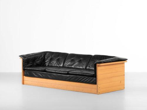 canapé sofa design années 70 cuir et pin style charlotte perriand francais25