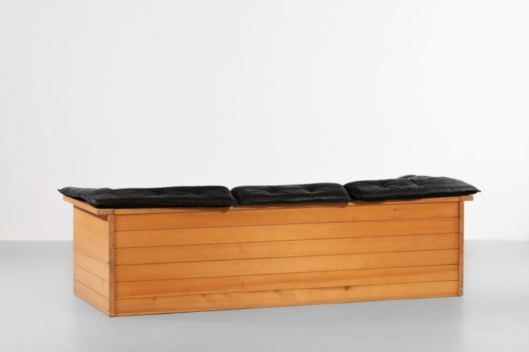 canapé sofa design années 70 cuir et pin style charlotte perriand francais