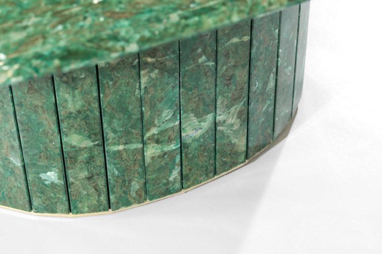 grande table basse ovale verte en albatre teinté vintage24