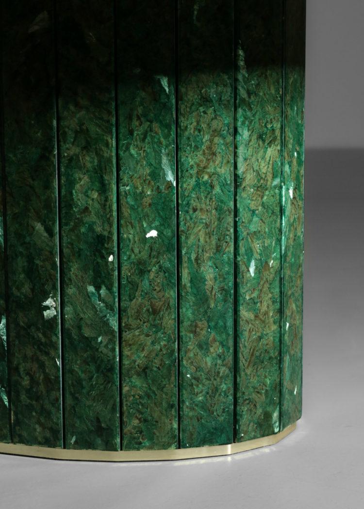 grande table basse ovale verte en albatre teinté vintage