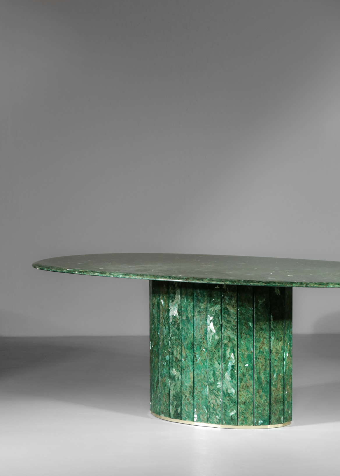 Large Oval Dining Table Green Marble And Crystal Danke Galerie