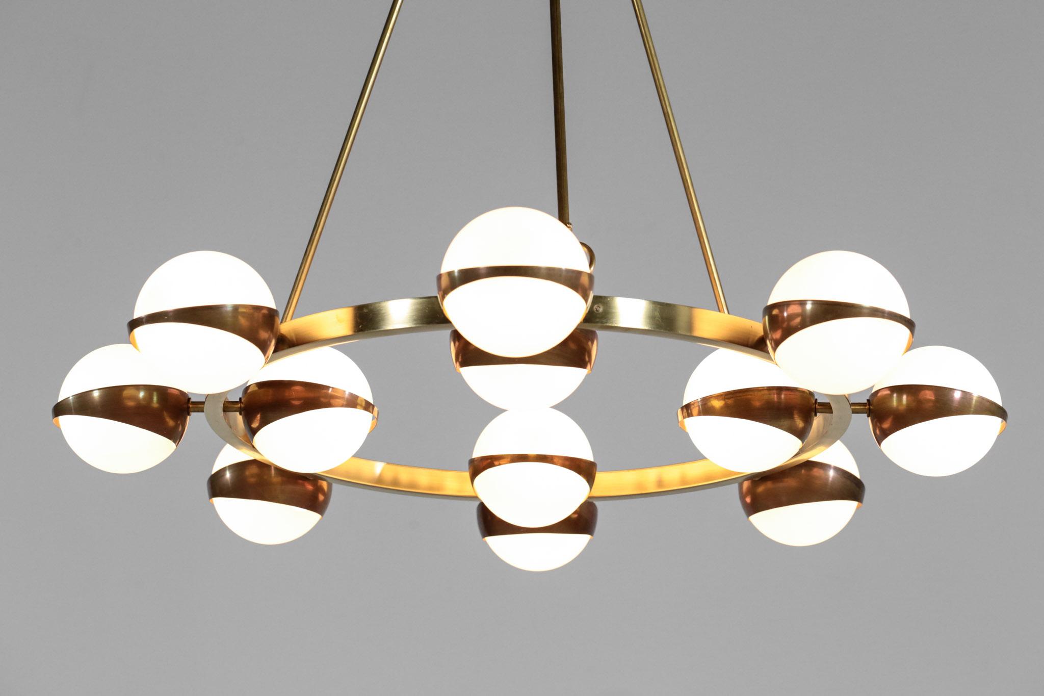 lustre italien moderne style stilnovo rond 12 opalines. Black Bedroom Furniture Sets. Home Design Ideas