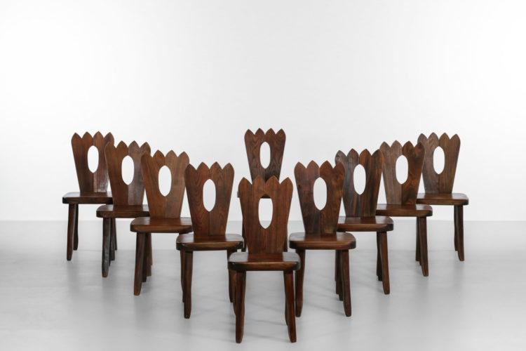 suite 10 chaises en orme massif style olavi Hanninen