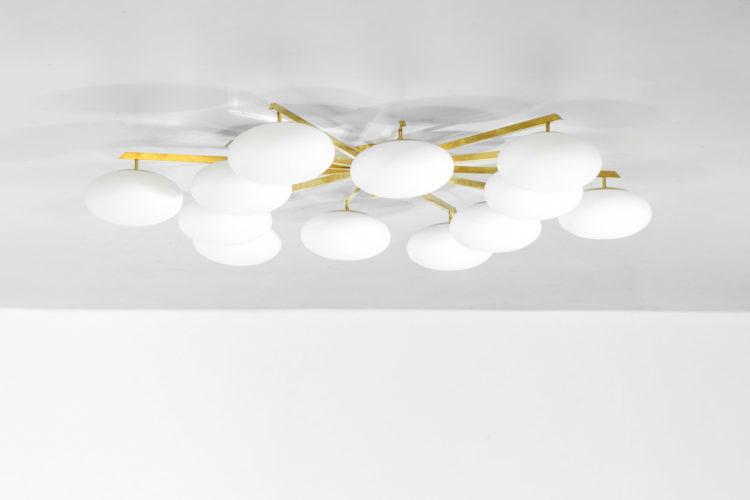grand lustre plafonnier angelo Lelli 12 opaline