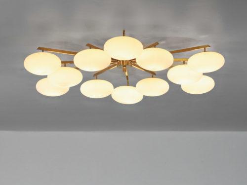 grand lustre plafonnier italien angelo Lelli 12 opalines