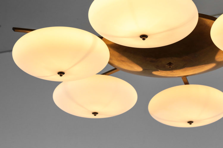 grand lustre plafonnier design 6 opalines vintage angelo lelli