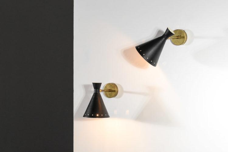 petite paire d'appliques italienne vintage cocotte noir 32