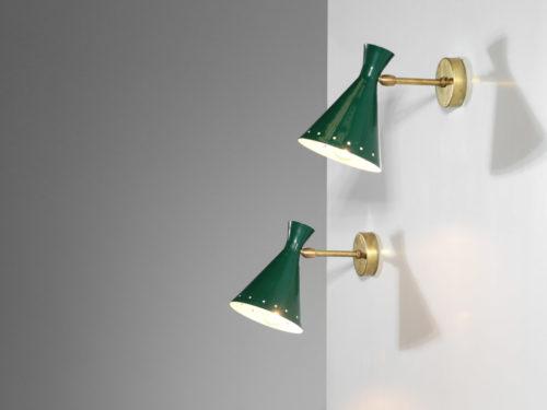 petite paire d'appliques italienne vintage cocotte vert33