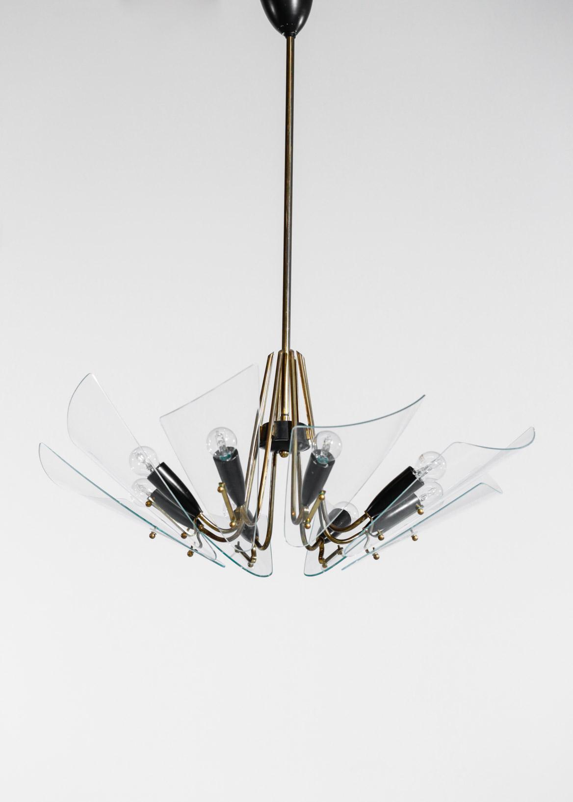 lustre italien vintage 8 pales en verre style fontana arte. Black Bedroom Furniture Sets. Home Design Ideas